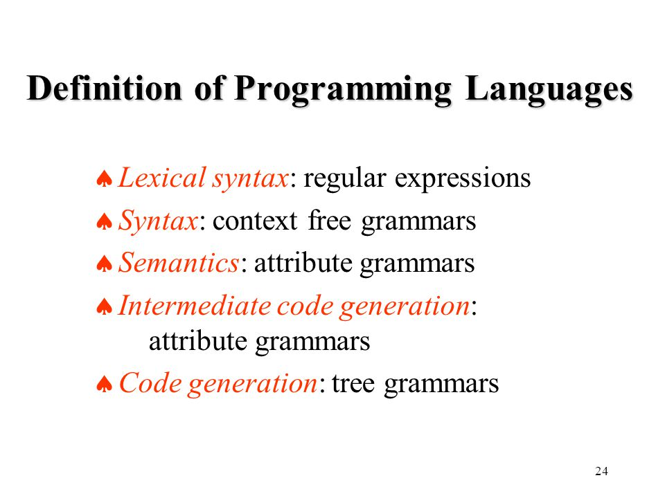 24 Definition of Programming Languages  Lexical syntax: regular expressions  Syntax: context free grammars  Semantics: attribute grammars  Intermediate code generation: attribute grammars  Code generation: tree grammars