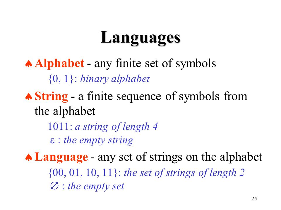 25 Languages  Alphabet - any finite set of symbols {0, 1}: binary alphabet  String - a finite sequence of symbols from the alphabet 1011: a string of length 4  : the empty string  Language - any set of strings on the alphabet {00, 01, 10, 11}: the set of strings of length 2  : the empty set