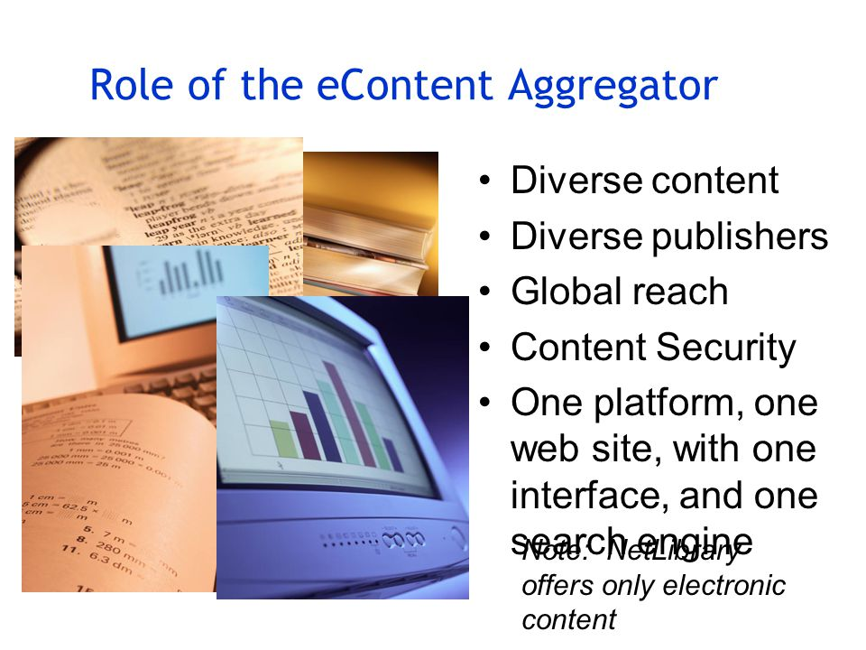 Role of the eContent Aggregator Diverse content Diverse publishers Global reach Content Security One platform, one web site, with one interface, and one search engine Note: NetLibrary offers only electronic content