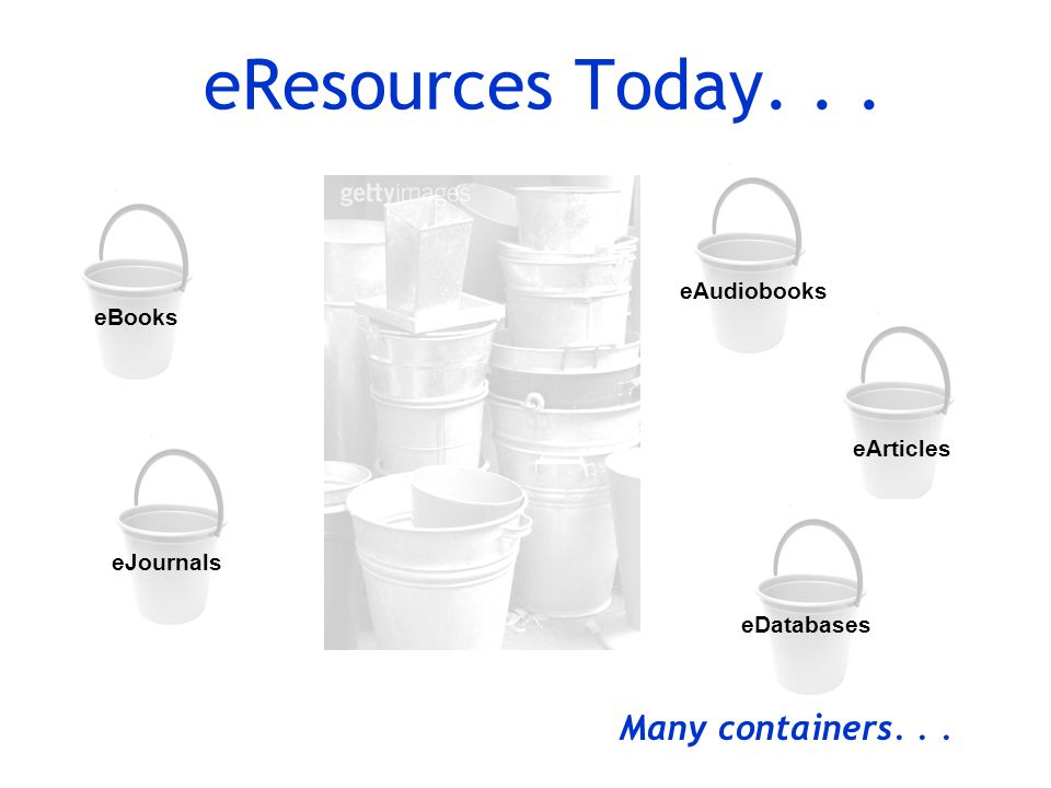 eAudiobooks eJournals eResources Today... eBooks eArticles eDatabases Many containers...