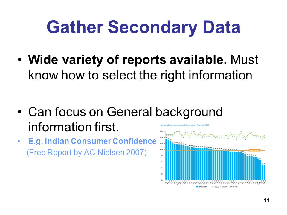 11 Gather Secondary Data Wide variety of reports available.