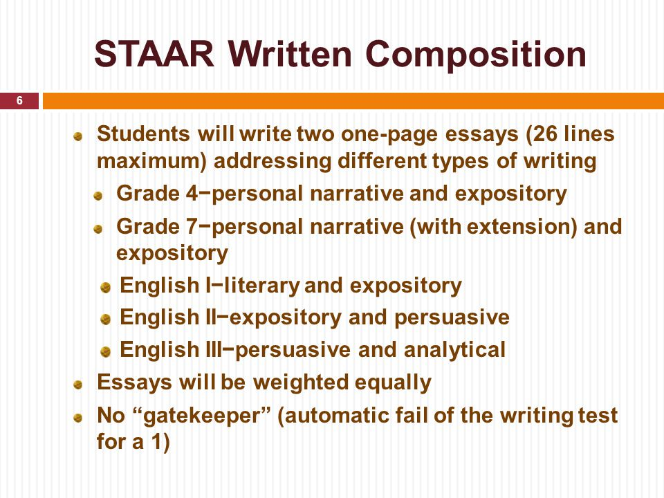 STAAR Written Composition Students will write two one-page essays (26 lines maximum) addressing different types of writing Grade 4−personal narrative and expository Grade 7−personal narrative (with extension) and expository English I−literary and expository English II−expository and persuasive English III−persuasive and analytical Essays will be weighted equally No gatekeeper (automatic fail of the writing test for a 1) 6