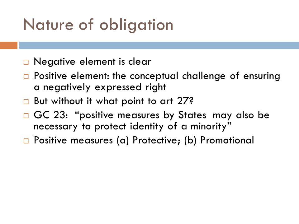 Nature of obligation  Negative element is clear  Positive element: the conceptual challenge of ensuring a negatively expressed right  But without it what point to art 27.