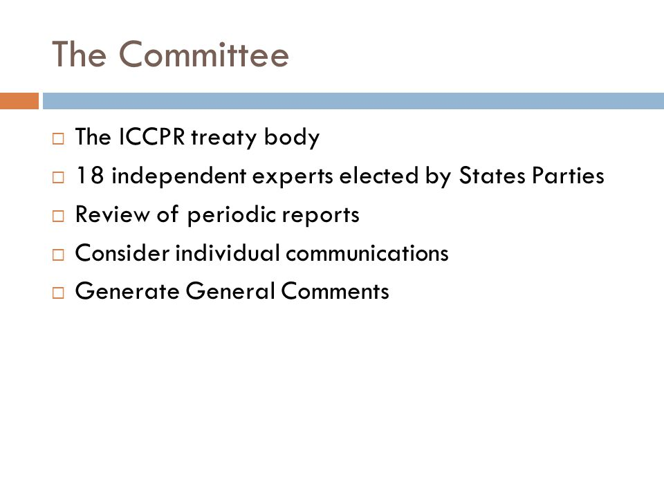 The Committee  The ICCPR treaty body  18 independent experts elected by States Parties  Review of periodic reports  Consider individual communications  Generate General Comments