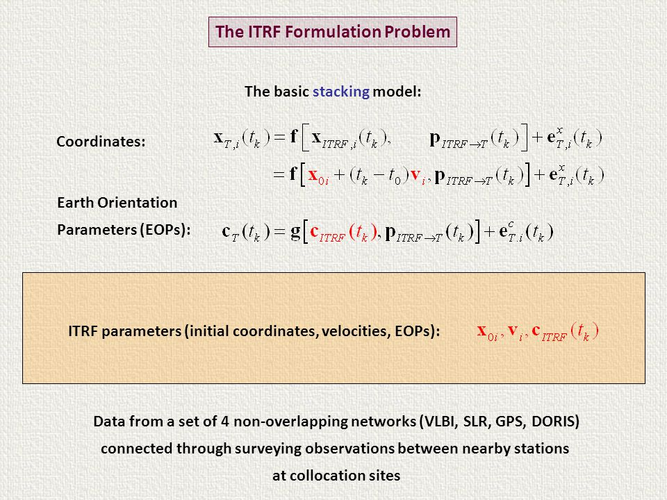 Data from a set of 4 non-overlapping networks (VLBI, SLR, GPS, DORIS) connected through surveying observations between nearby stations at collocation sites Coordinates: Earth Orientation Parameters (EOPs): Transformation parameters from the ITRF reference system to the reference system of each epoch within each technique: The ITRF Formulation Problem The basic stacking model: