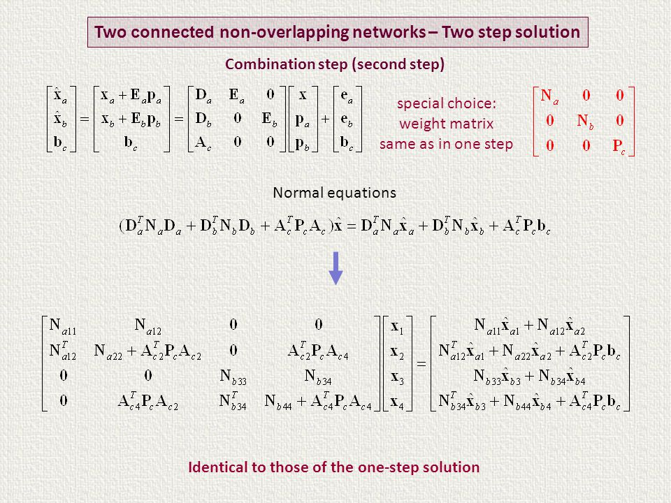 Normal equations Identical to those of the one-step solution Two connected non-overlapping networks – Two step solution special choice: weight matrix same as in one step Combination step (second step)
