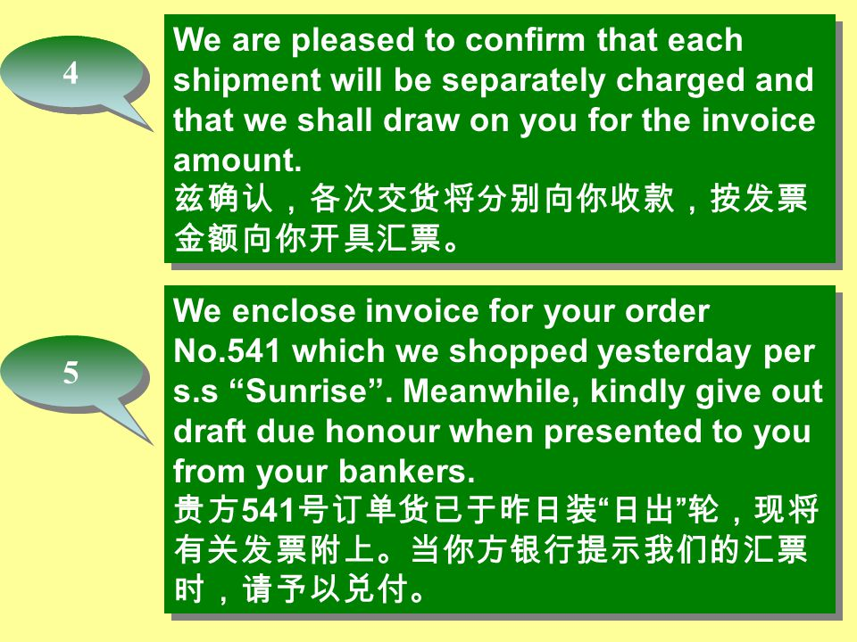 We enclose invoice for your order No.541 which we shopped yesterday per s.s Sunrise .