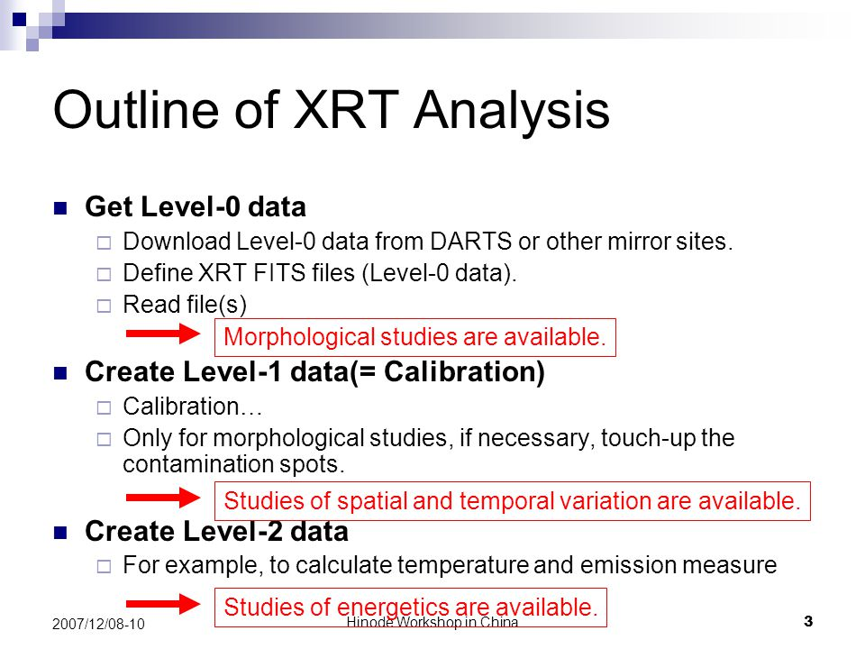 Hinode Workshop in China3 2007/12/08-10 Outline of XRT Analysis Get Level-0 data  Download Level-0 data from DARTS or other mirror sites.