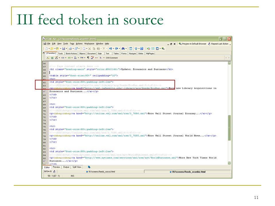 11 III feed token in source
