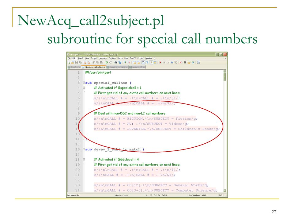 27 NewAcq_call2subject.pl subroutine for special call numbers