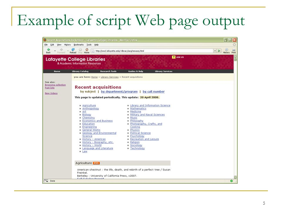 5 Example of script Web page output