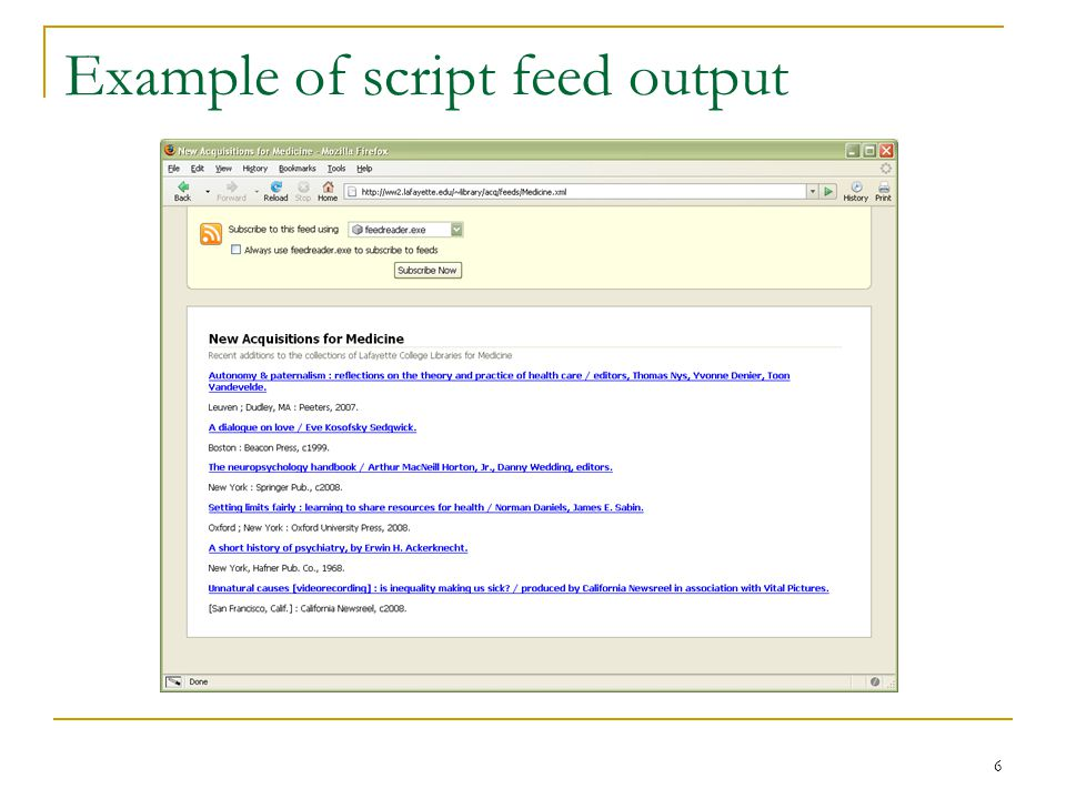 6 Example of script feed output