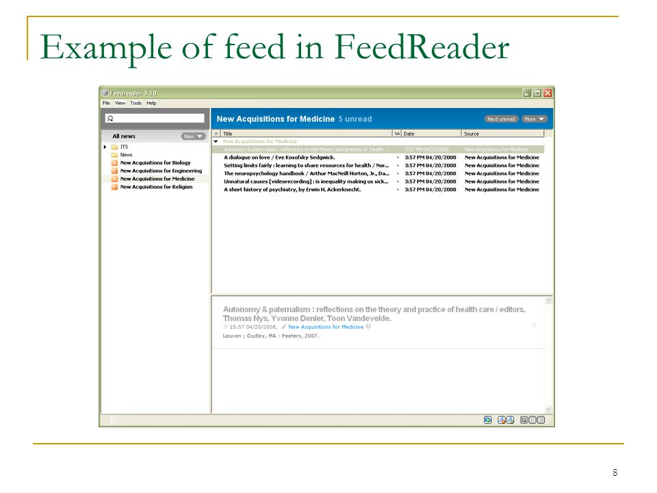 8 Example of feed in FeedReader