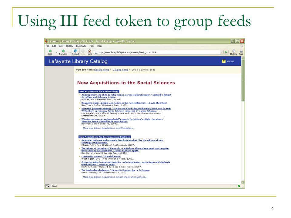 9 Using III feed token to group feeds