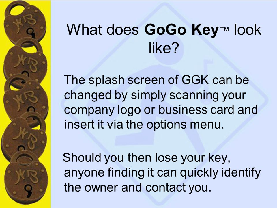 11 What does GoGo Key ™ look like.