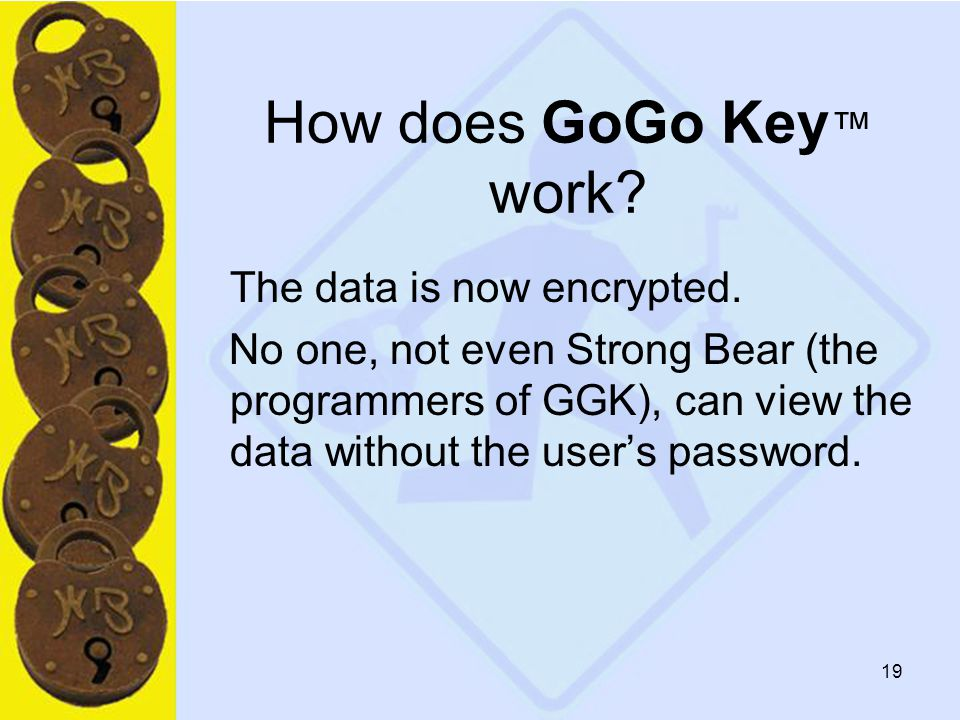 19 How does GoGo Key ™ work. The data is now encrypted.