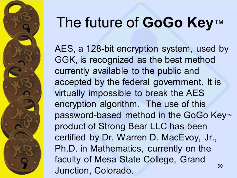 30 The future of GoGo Key ™ AES, a 128-bit encryption system, used by GGK, is recognized as the best method currently available to the public and accepted by the federal government.