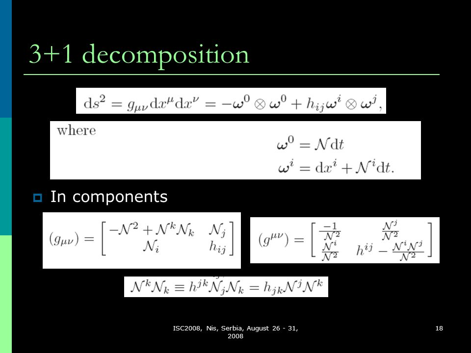 ISC2008, Nis, Serbia, August 26 - 31, 2008 18 3+1 decomposition  In components