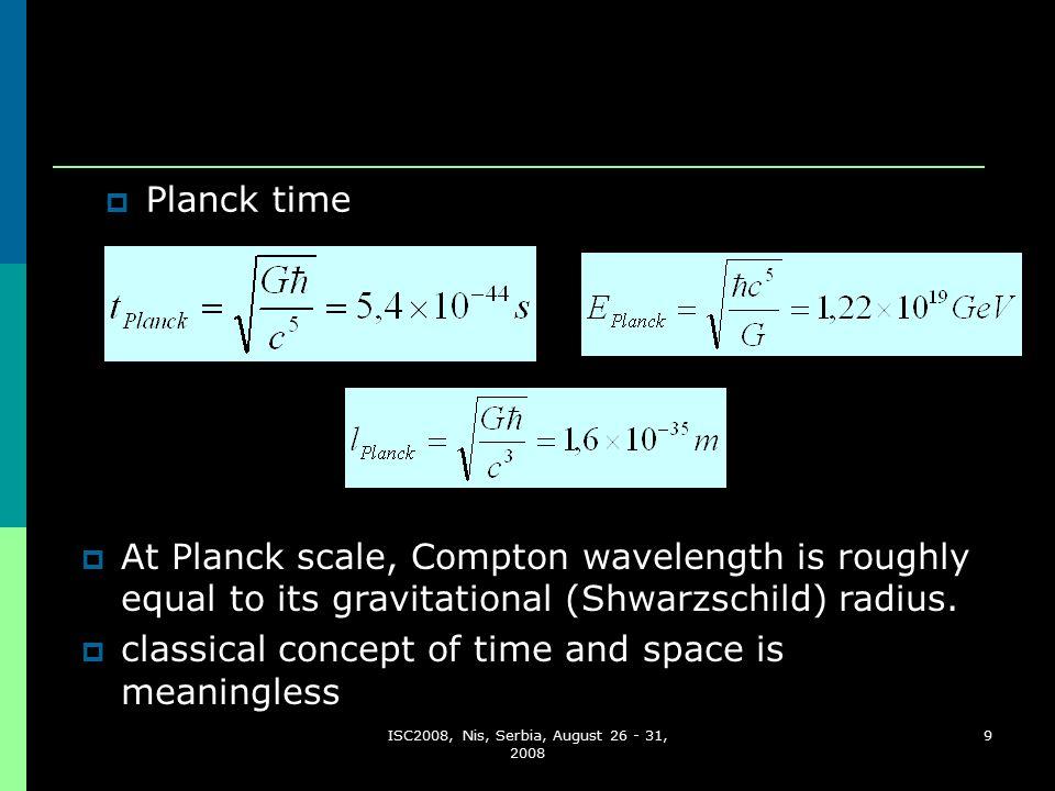 9  Planck time  At Planck scale, Compton wavelength is roughly equal to its gravitational (Shwarzschild) radius.