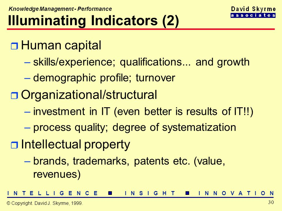 I N T E L L I G E N C E I N S I G H T I N N O V A T I O N 30 © Copyright. David J. Skyrme, 1999. Knowledge Management - Performance Illuminating Indic