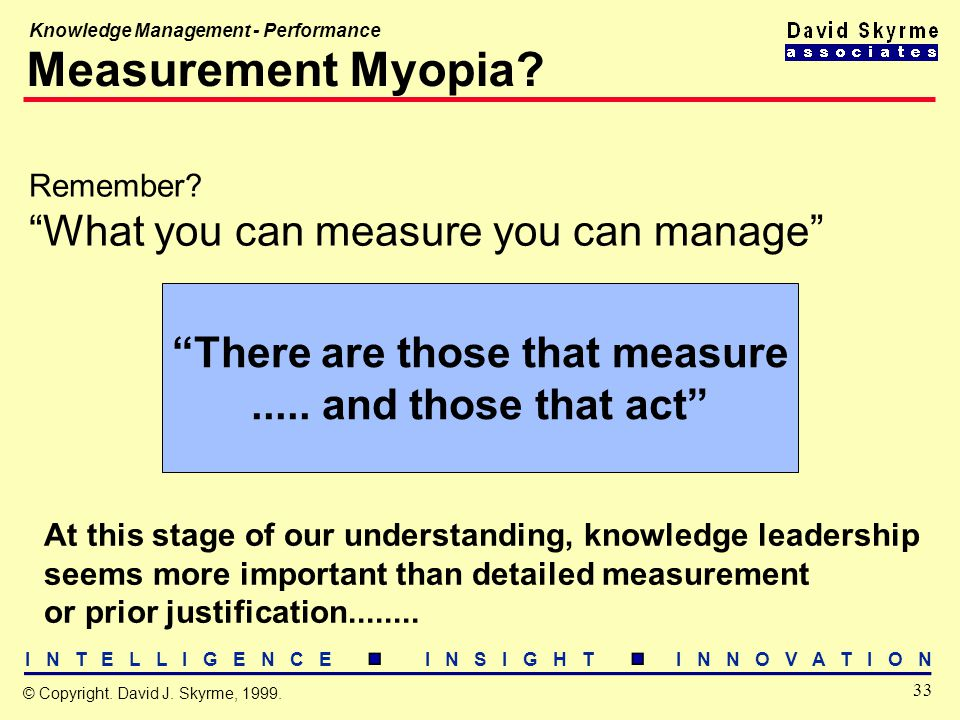 I N T E L L I G E N C E I N S I G H T I N N O V A T I O N 33 © Copyright. David J. Skyrme, 1999. Knowledge Management - Performance Measurement Myopia