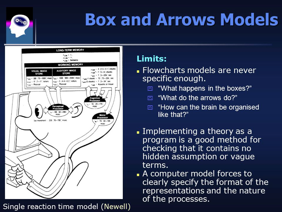Box and Arrows Models Single reaction time model (Newell) Limits: n Flowcharts models are never specific enough.
