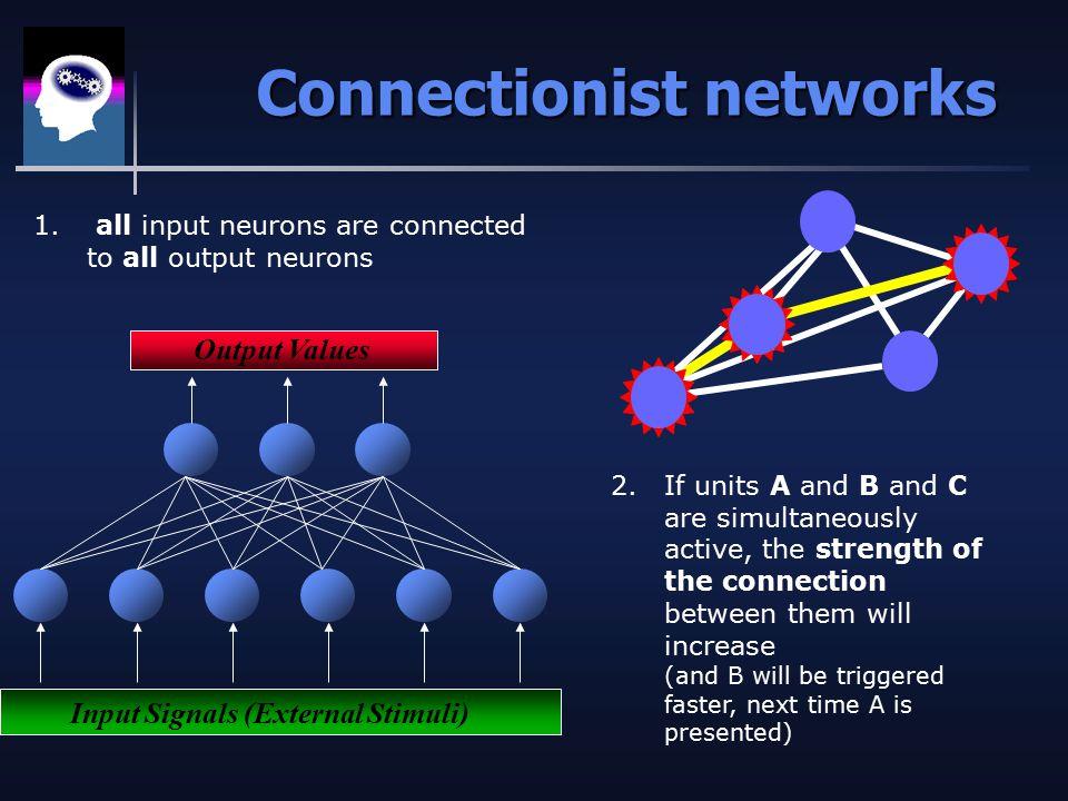 Connectionist networks Output Values Input Signals (External Stimuli) 1.
