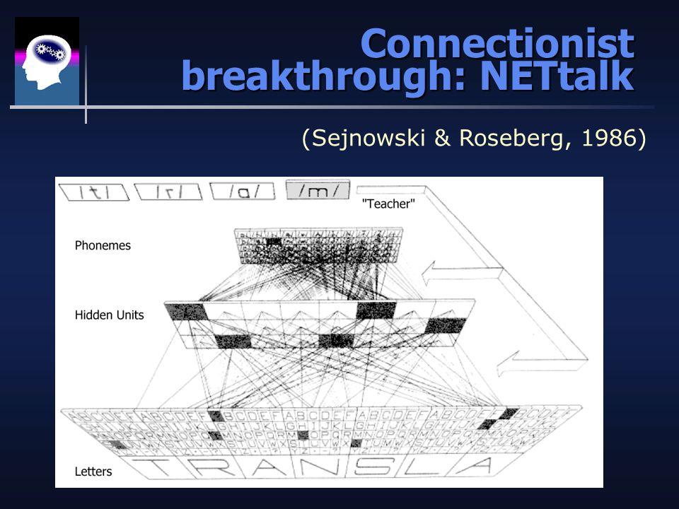 Connectionist breakthrough: NETtalk (Sejnowski & Roseberg, 1986)