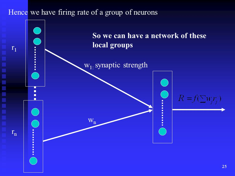 24  Single spiking time is meaningless  To extract useful information, we have to average to obtain the firing rate r for a group of neurons in a local circuit where neuron codes the same information over a time window Local circuit = Time window = 1 sec r =  Hz