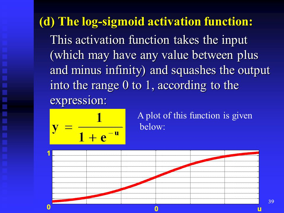 38 (c) Linear activation function: The output of a linear activation function is equal to its input: y = u as shown in the following figure: as shown in the following figure: 0 0 u y