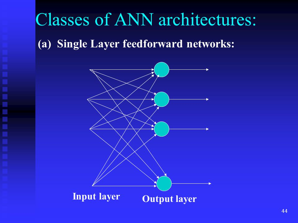 43 Artificial Neural Network (ANN) architectures: Connecting several neurons in some specific manner yields an artificial neural network.