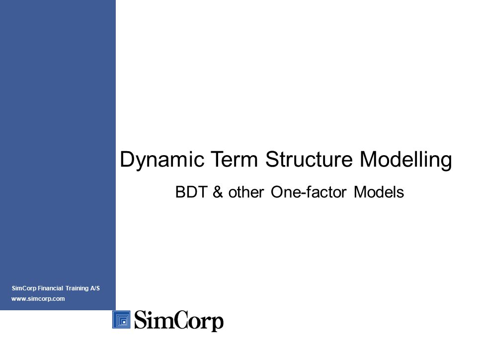 Prepared by Peter Løchte Jørgensen for SimCorp Financial Training 11 af xx The ideas of the Classic Models II Step 2: Name the factors and choose stochastic process for their evolution through time Process used is Itô-process/diffusion: Drift Volatility Wiener process
