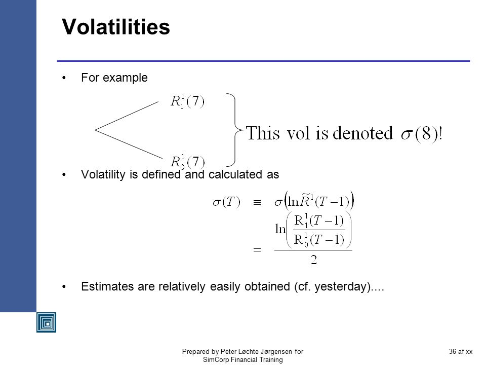 Prepared by Peter Løchte Jørgensen for SimCorp Financial Training 35 af xx What volatility curve.