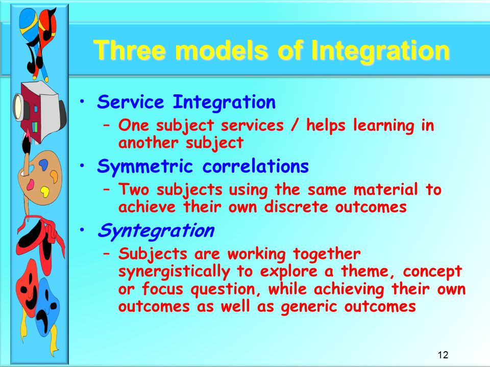 12 Three models of Integration Service Integration –One subject services / helps learning in another subject Symmetric correlations –Two subjects using the same material to achieve their own discrete outcomes Syntegration –Subjects are working together synergistically to explore a theme, concept or focus question, while achieving their own outcomes as well as generic outcomes