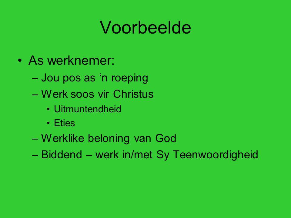 Voorbeelde As werknemer: –Jou pos as 'n roeping –Werk soos vir Christus Uitmuntendheid Eties –Werklike beloning van God –Biddend – werk in/met Sy Teenwoordigheid