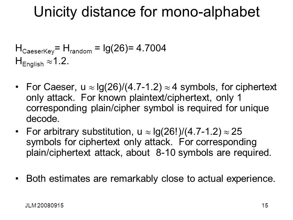 JLM 2008091515 Unicity distance for mono-alphabet H CaeserKey = H random = lg(26)= 4.7004 H English » 1.2.