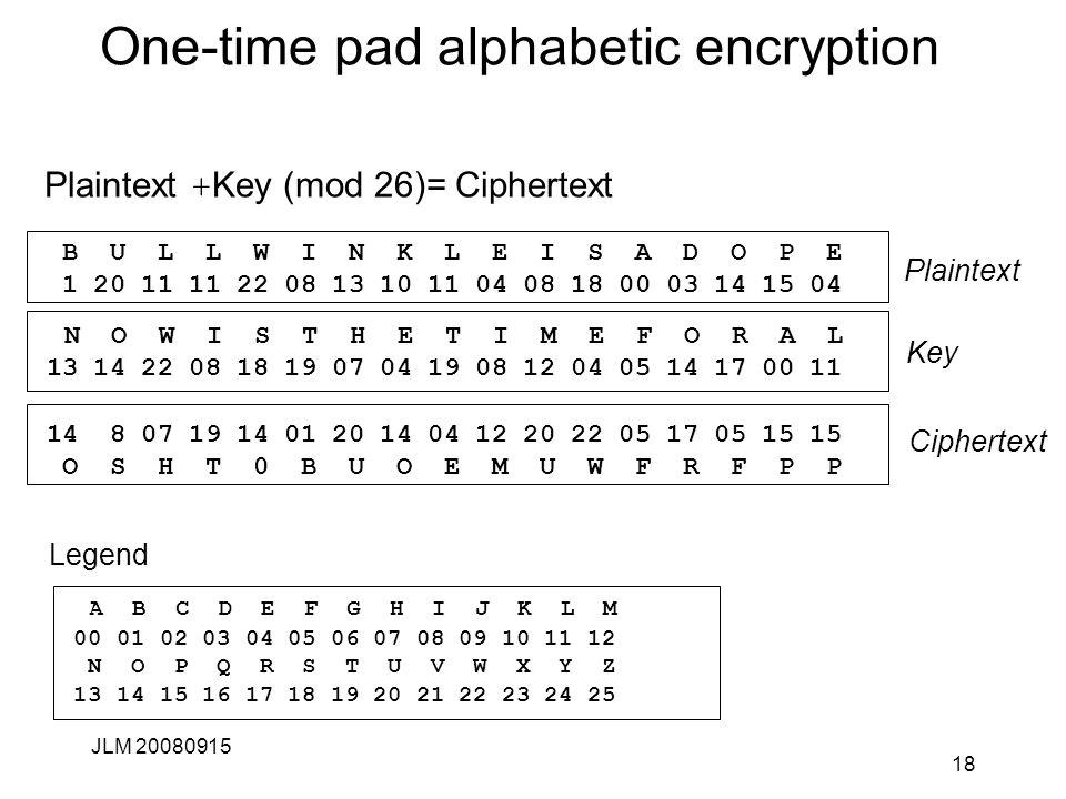 One-time pad alphabetic encryption Plaintext + Key (mod 26)= Ciphertext JLM 20080915 18 B U L L W I N K L E I S A D O P E 1 20 11 11 22 08 13 10 11 04 08 18 00 03 14 15 04 14 8 07 19 14 01 20 14 04 12 20 22 05 17 05 15 15 O S H T 0 B U O E M U W F R F P P N O W I S T H E T I M E F O R A L 13 14 22 08 18 19 07 04 19 08 12 04 05 14 17 00 11 Ciphertext Plaintext Key A B C D E F G H I J K L M 00 01 02 03 04 05 06 07 08 09 10 11 12 N O P Q R S T U V W X Y Z 13 14 15 16 17 18 19 20 21 22 23 24 25 Legend