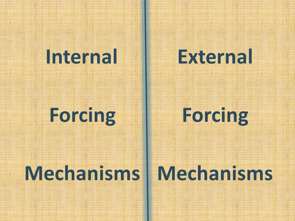 Internal Forcing Mechanisms External Forcing Mechanisms