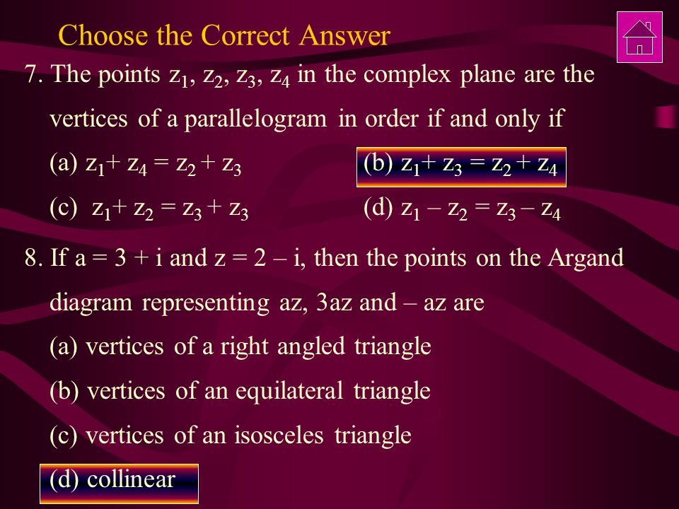 Choose the Correct Answer 7.