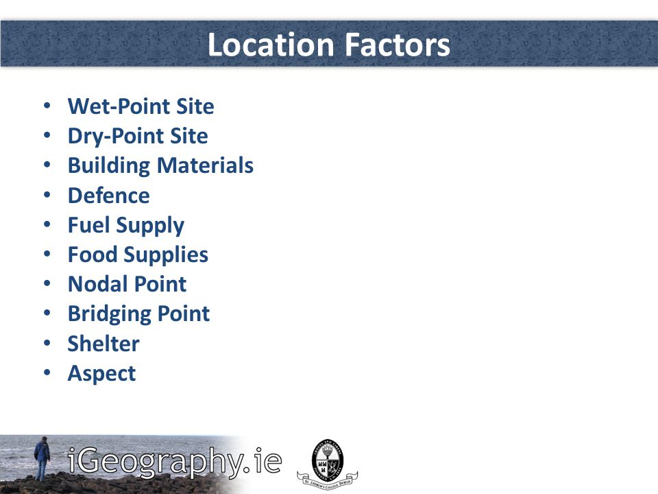 Location Factors Wet-Point Site Dry-Point Site Building Materials Defence Fuel Supply Food Supplies Nodal Point Bridging Point Shelter Aspect