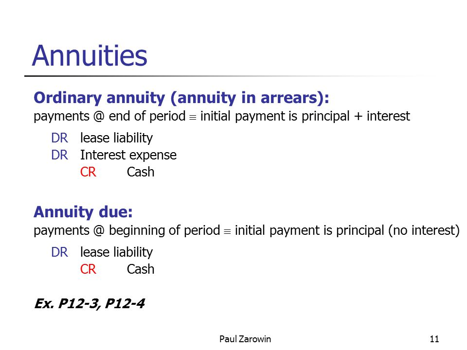 Paul Zarowin11 Annuities Ordinary annuity (annuity in arrears): payments @ end of period  initial payment is principal + interest DRlease liability DRInterest expense CRCash Annuity due: payments @ beginning of period  initial payment is principal (no interest) DRlease liability CRCash Ex.