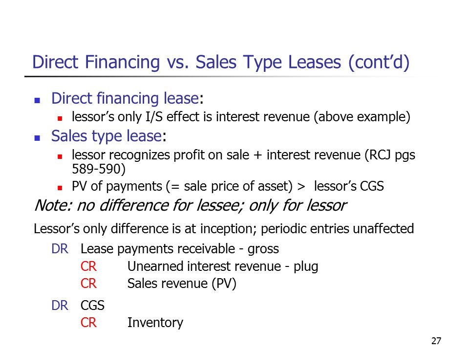 27 Direct Financing vs.