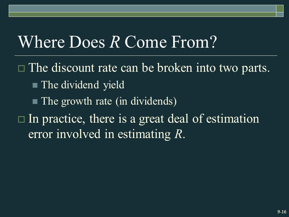 9-16 Where Does R Come From.  The discount rate can be broken into two parts.