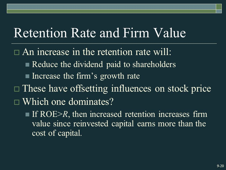 9-20 Retention Rate and Firm Value  An increase in the retention rate will: Reduce the dividend paid to shareholders Increase the firm's growth rate