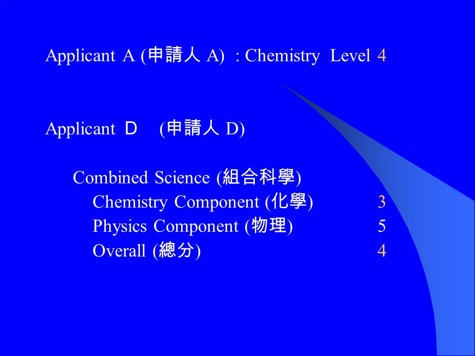 Applicant A ( 申請人 A): ChemistryLevel 4 Applicant D ( 申請人 D) Combined Science ( 組合科學 ) Chemistry Component ( 化學 )3 Physics Component ( 物理 )5 Overall ( 總分 )4