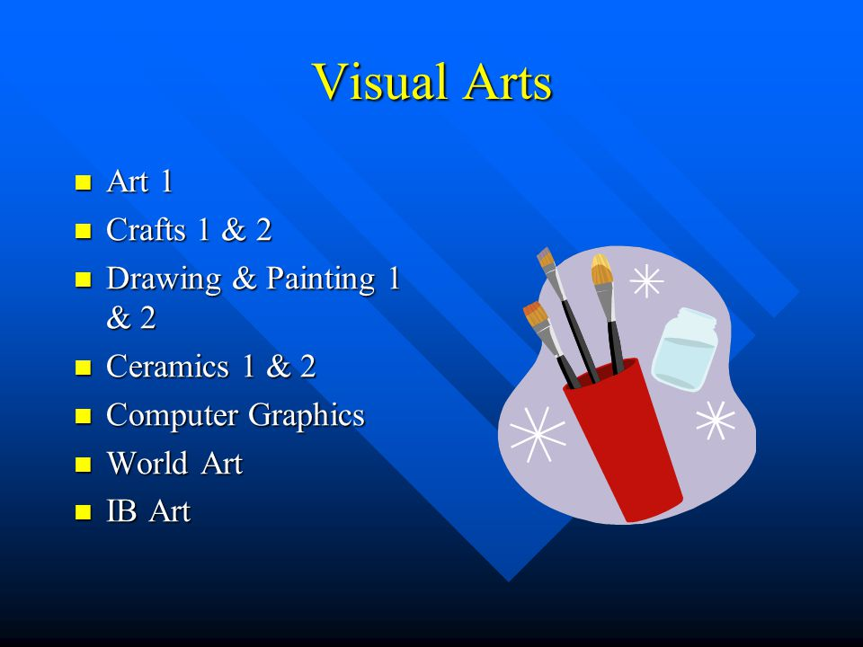 Visual Arts Art 1 Art 1 Crafts 1 & 2 Crafts 1 & 2 Drawing & Painting 1 & 2 Drawing & Painting 1 & 2 Ceramics 1 & 2 Ceramics 1 & 2 Computer Graphics Co
