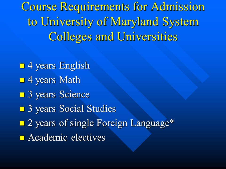 Course Requirements for Admission to University of Maryland System Colleges and Universities 4 years English 4 years English 4 years Math 4 years Math