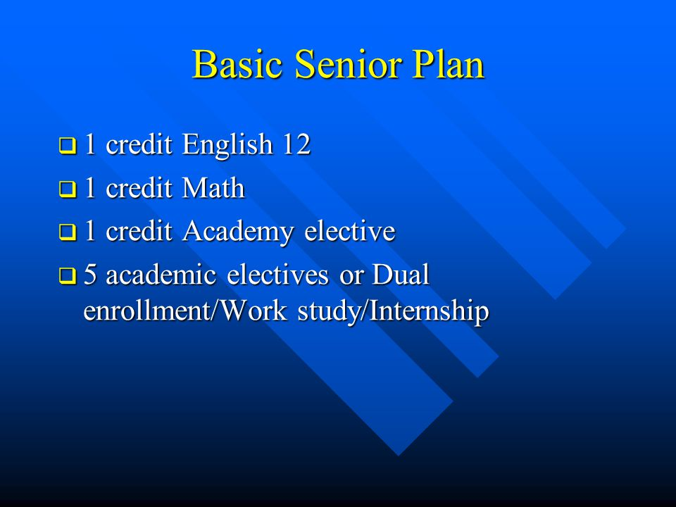 Basic Senior Plan  1 credit English 12  1 credit Math  1 credit Academy elective  5 academic electives or Dual enrollment/Work study/Internship