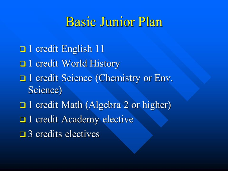 Basic Junior Plan  1 credit English 11  1 credit World History  1 credit Science (Chemistry or Env. Science)  1 credit Math (Algebra 2 or higher)