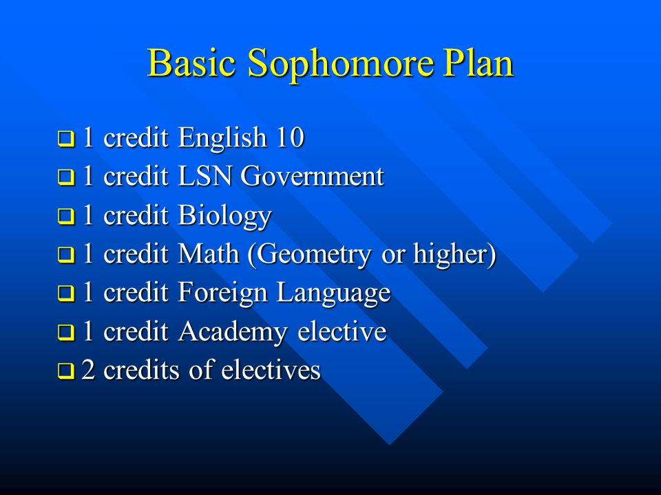Basic Sophomore Plan  1 credit English 10  1 credit LSN Government  1 credit Biology  1 credit Math (Geometry or higher)  1 credit Foreign Langua